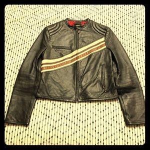 Vintage Leather Moto Cafe Racer Jacket